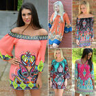 Sexy WomenS Summer Boho Loose Shirt Evening Party Beach Casual Short Mini Dress