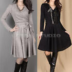 Women's Ladies Long Sleeve Cross V-Neck Slim Party Cocktail Pleated Short Dress