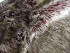 Super Luxury Faux Fur Fabric Material - LONG SILVER BURGUNDY WINE