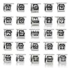 Solid 925 Sterling Silver Initial Alpha Letter Bead fit European Charm Bracelet