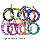 3ft 6ft 10ft Braided Micro USB Cable Data Sync Charger Cord For Android Phones