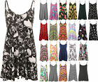 New Plus Size Womens Strappy Sleeveless Printed Ladies Mini Dress Vest Top 16-26