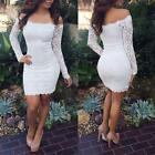 Women Girls Sexy Lace Bodycon Slim Dress Long Sleeve Off Shoulder Party Dress