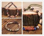 BH01 Handmade Craft Hemp Surfer Bracelet Bangle Ceramic Clay Beads Mens Women image