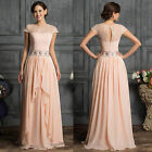 Cap Sleeve Chiffon Long Bridesmaid Prom Evening Gown Ball Cocktail Dresses