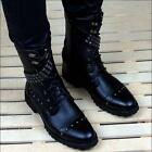 Men's Punk Pointy Toe Gothic Lace Up Rivets Mid-Calf Motorcycle Boots Shoes new