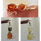 BALTIC WHITE HONEY MULTICOLOR AMBER STERLING SILVER CAT IN BOW TIE PENDANT CHARM