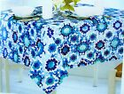 "Assorted Sizes ""Selena Medallion"" Blues & White Fabric Tablecloth FREE SHIPPING"