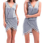 Sexy Women Mini Beach Tassel Dress Summer Boho Sleeveless Party Evening Cocktail
