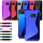 For Various Samsung Phone Soft Silicone Gel Case Cover + Film + Retractable Pen