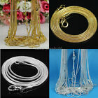 """10/20/50/100pcs Silver/Gold Plated 1.2mm Snake Chain Necklace 16"""" 18"""" 20"""" 24"""""""