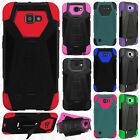 For LG Optimus Zone 3 Turbo Layer HYBRID KICKSTAND Rubber Case Phone Cover