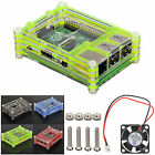 EEEKit Sliced 9 Layer Hard Case Box+Cooling Fan+Pouch for Raspberry Pi 3 Model B