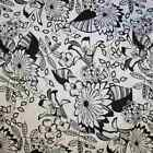 BLACK WHITE COLLECTION STYLISED FLORAL QUILT COTTON FABRIC *Free Oz Post
