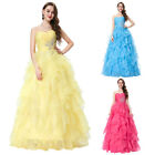 GK Stock Strapless Organza Ball Party Gown Prom Evening Dress Wedding Homecoming