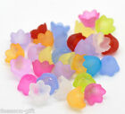 Gift Wholesale Mixed Flower Frosted Acrylic Spacer Beads Caps 10x7mm(Fit 10mm)