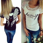 Angel Wings Printed Women Lace T shirt Sexy Tops Casual Short Sleeve Blouses EW
