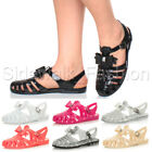 Womens ladies low heel flat jelly retro bow 90's buckle gladiator sandals size