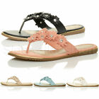 WOMENS LADIES FLAT FLOWER DIAMANTE EMBELLISHED TOE POST FLIP FLOPS SANDALS SIZE