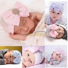 Baby Newborn Girls Infant Toddler Hospital Comfy Bowknot Beanie Hat Photo Prop