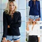 2016 AU 8-16 Women Chiffon Lace Up Casual Tee Bandage Blouse Tops Shirt T-Shirt