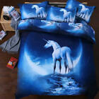 Unicorn Duvet Quilt Doona Cover Set King Queen Double Size Pillowcase Bed Animal