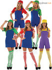 Ladies Super Mario Luigi Costume Adult Plumber Bro Fancy Dress Women 80s Outfit