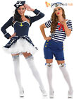 Ladies Sassy Sailor Girl Costume Adult Navy Fancy Dress Womens Nautical Outfit
