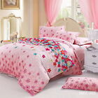 Floral S/DB/QB/King Size Bed Quilt/Doona/Duvet Cover Set New Cotton Fitted Sheet