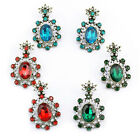 EMERALD GREEN, RED OR TURQUOISE OVAL FLOWER DIAMANTE RHINESTONE CRYSTAL EARRINGS