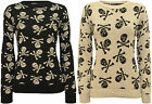 New Womens Skull Bones Print Long Sleeve Top Ladies Knitted Sweater Jumper 8-14