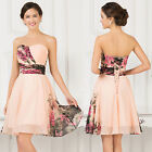Women Summer Floral Short Chiffon Prom Bridesmaid Dress Mini Cocktail Party Gown