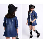 Spring Style Cartoon Butterfly Pattern Children's Medium Denim Jacket Dark Blue.