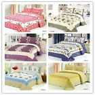 New Floral Bedspread Set King Size Bed Linen Quilted/Coverlet 100%Cotton Striped
