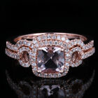 Solid 10K Rose Gold Cubic Zirconia Engagement Main Ring & Match Band