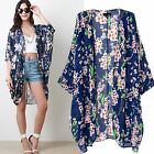 Women Vintage Floral Long Loose Kimono Cardigan Blouses Beach Cover Up Top Shirt