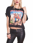 Iron Maiden T Shirt Trooper Official Womens New Black Boxy Loose Fit Crop Top