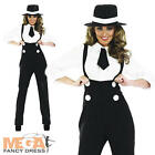 1920s Black Gangster + Hat Ladies Fancy Dress 20s Mafia Womens Costume Outfit