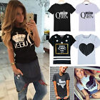 Womens Summer Casual Tops Fashion Printed Short Sleeve T-shirt Blouse Tee Ladies