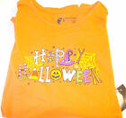 Happy Halloween Orange Long Sleeve T-shirt Womens M L XL XXL NWT