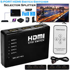 5 Port 1080P Video HDMI Switch Switcher Splitter for HDTV DVD PS3 + IR Remote UK