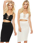 Womens Crop Top Skirt Co-Ord Set Strappy Bralet Bodycon Stretch Sleeveless 6-12