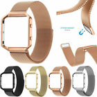 Milanese Stainless Steel Strap Wrist watch band w/ Metal Frame For Fitbit Blaze