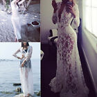 CHIC Sexy Women Casual Long Sleeve Evening Warty Cocktail Long Lace Dress White