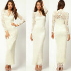 Fashion Ladies' Sexy V-neck Long Maxi Lace Gown Evening Party Slim Dresses New