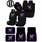 Front Rear Mystical Butterfly Purple Universal Carpet floor Mats for Car Truck