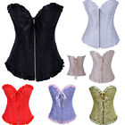 Classic Floral Zip Overbust Basques Lace up Boned Bustier Corset Sexy Lingerie