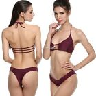 Sexy Women ladies Swimwear Padded Halter Hollow Low Waist Beach Bikini Set  N4U8