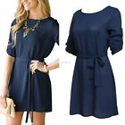 Women Crew Neck Jumper Pullover Long Tops Cocktail Party Mini Dress Blouse EN24