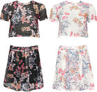 Womens Floral Mesh Rib Co-Ord Set Ladies Crop Top Mini Skirt Turtle Twin Suit